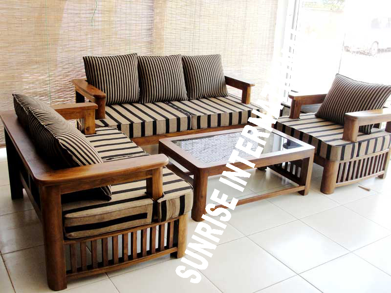 Wooden sofa sets on table and chair sets